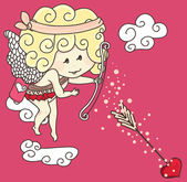 Little cupid in action — Stock Vector