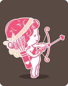 Little cupid preparing to shoot his arro — Stock Vector