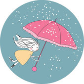 Flying in the rain — Stock Vector