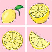 Jeu d'icônes de fruits citron — Vecteur