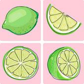 Ikonuppsättning - lime frukt — Stockvektor