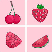 Icon set - red fruits — Stock Vector