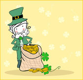 Leprechaun with treasure — Stock Vector