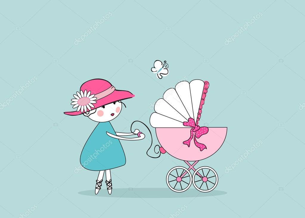 Vector illustration of an baby announcement card with young mother and stroller. — Stock Vector #2137124