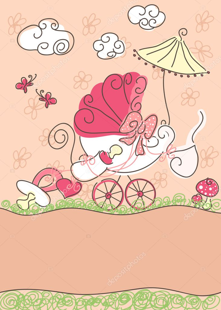 Baby girl announcement card  - doodle design — Stock Vector #2137372