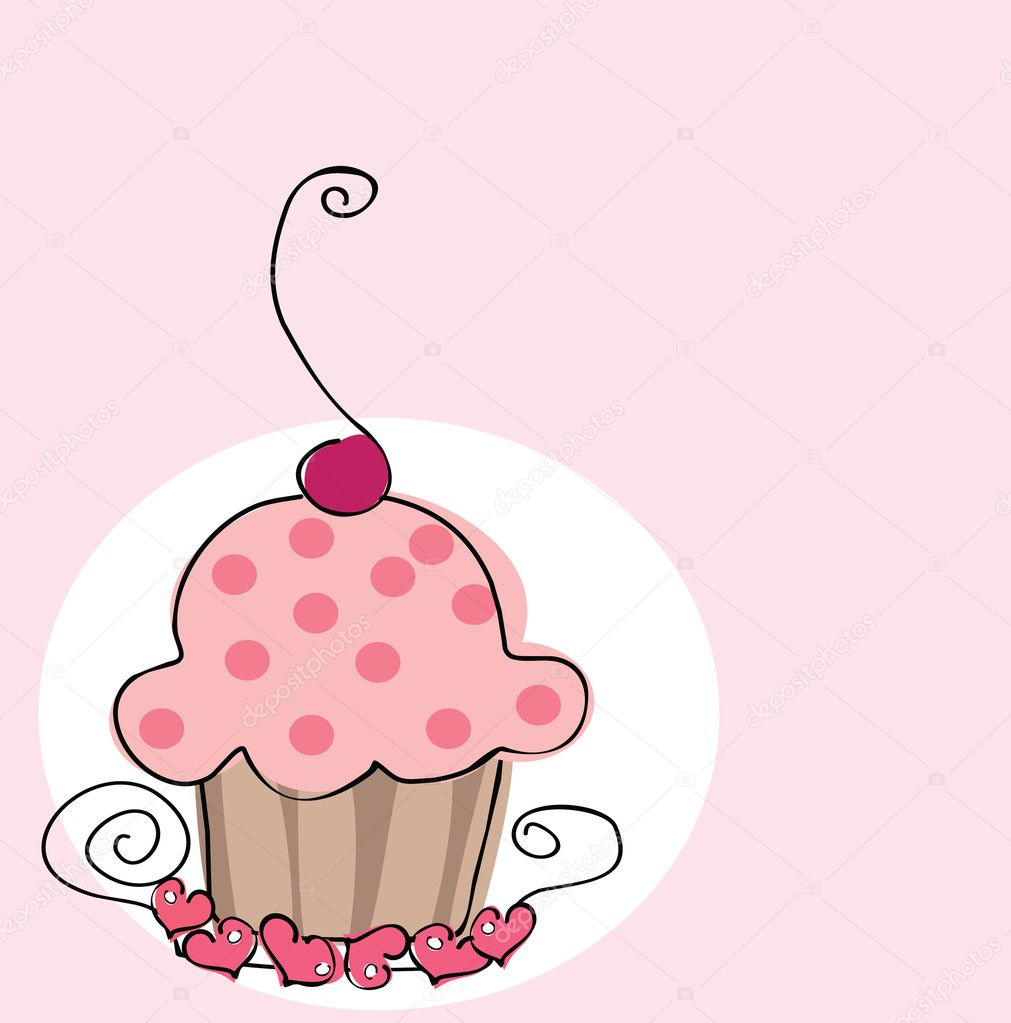 Vector illustration of cute romantic cupcake.  Stock Vector #2138335
