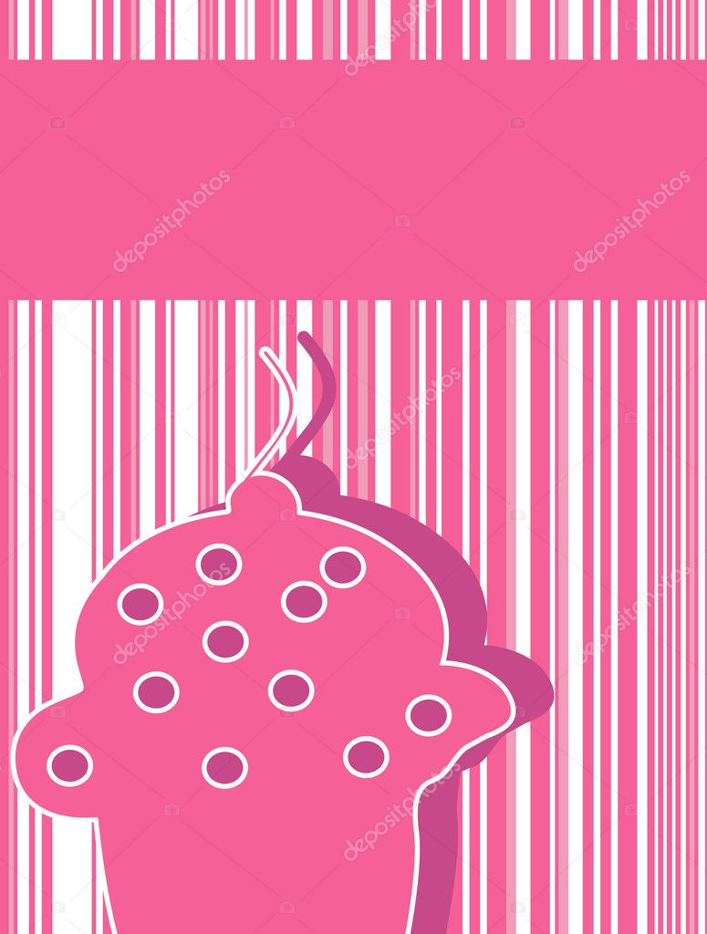 Vector illustration of an greeting card with cupcake. — Stock Vector #2138343