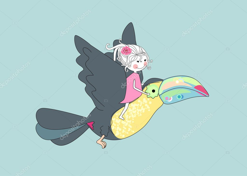 Vector illustration of an girl flying with toucan. — Stock Vector #2138763