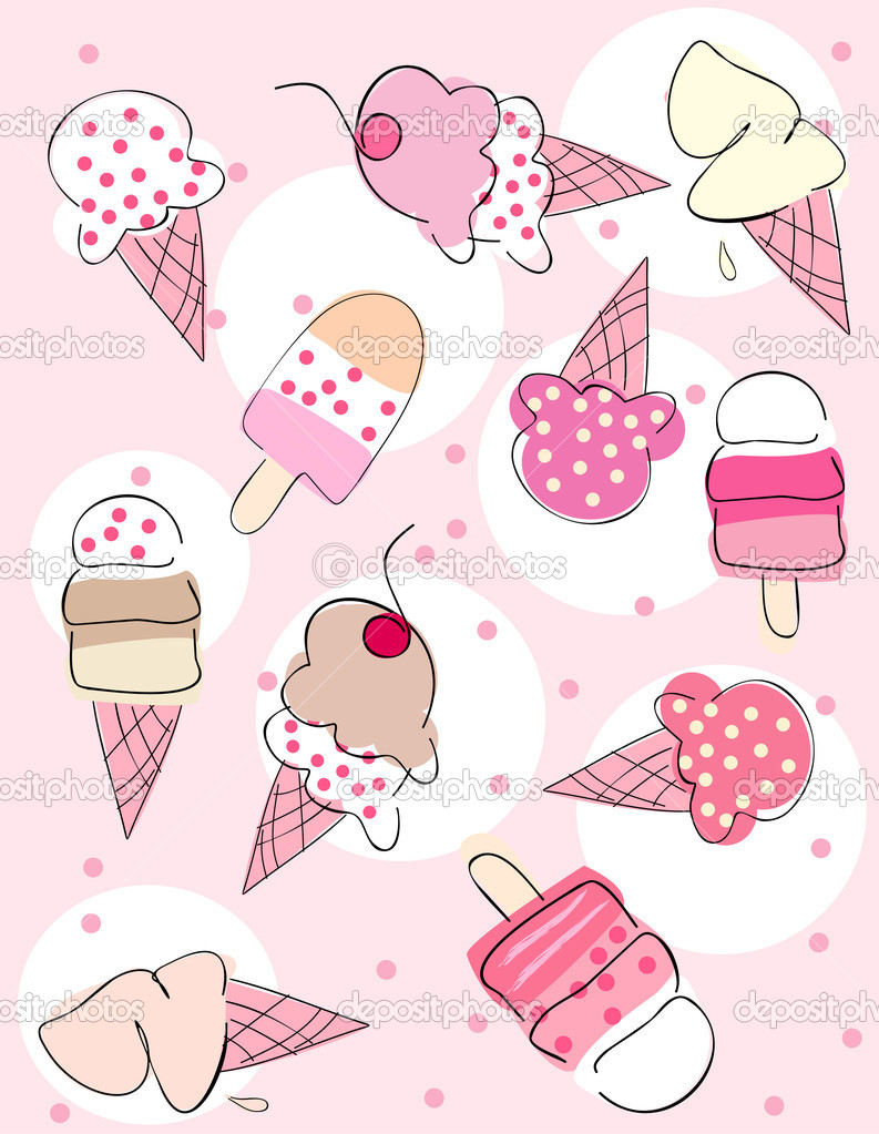 Vector illustration of background with ice creams. — Stock Vector #2139132
