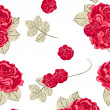 Seamless vintage pattern with red roses - Stok Vektr
