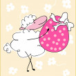 Sheep with easter egg — Stock Vector