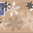 Stock Vector: Snowflake postage set