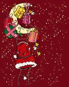 Santa claus climbing to the moon — Stock Vector