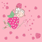 Strawberry fairy — Stock Vector