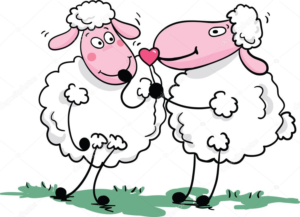 Vector illustration of an romantic sheep.  Stock Vector #2140357