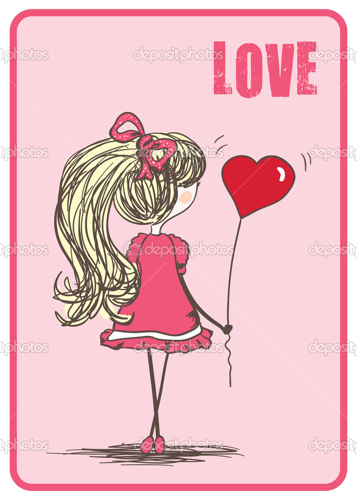 Vector illustration of an girl with heart shaped balloon. — Stock Vector #2141204