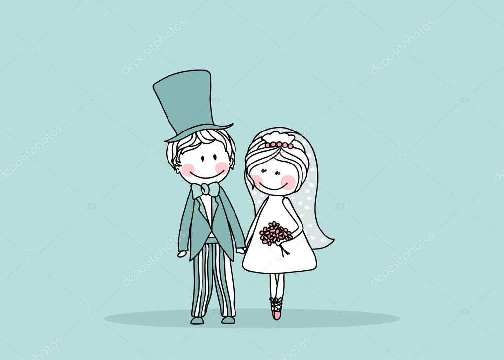 Vector illustration of wedding couple standing and holding hands. — Imagens vectoriais em stock #2141403