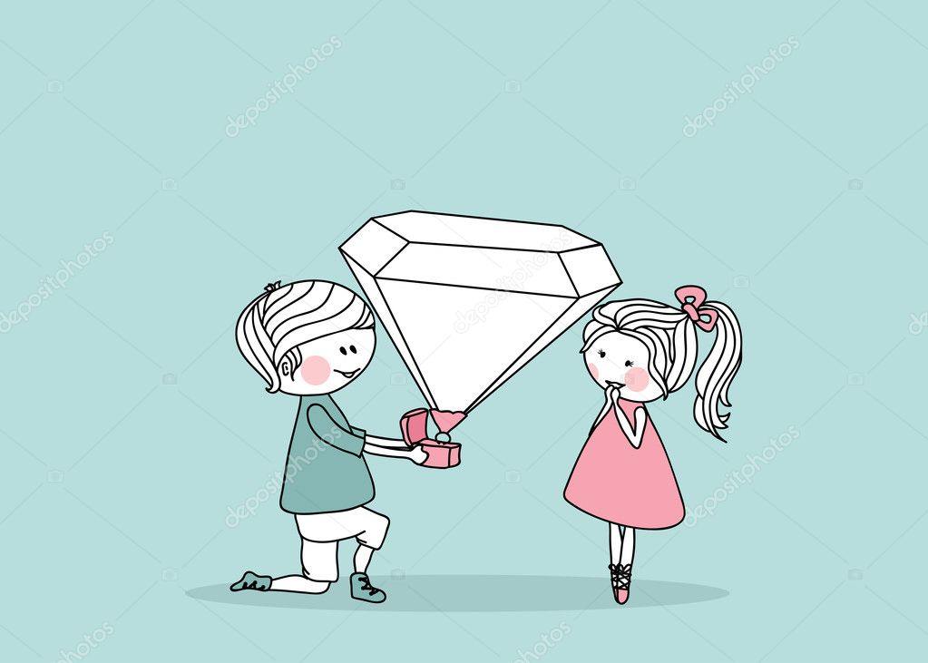 Vector illustration of an boy proposing girl with giant diamond ring.  Stockvektor #2141435