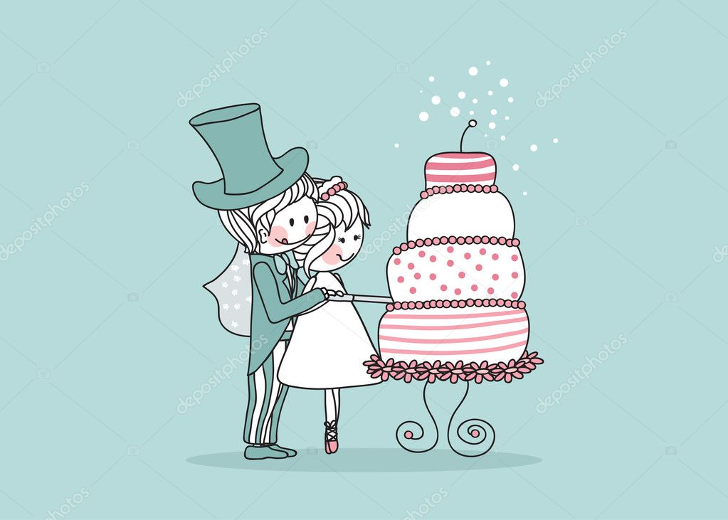 Vector illustration of  bride and groom cutting wedding cake. — Stock Vector #2141445