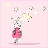 Girl caught the falling star — Stock Vector