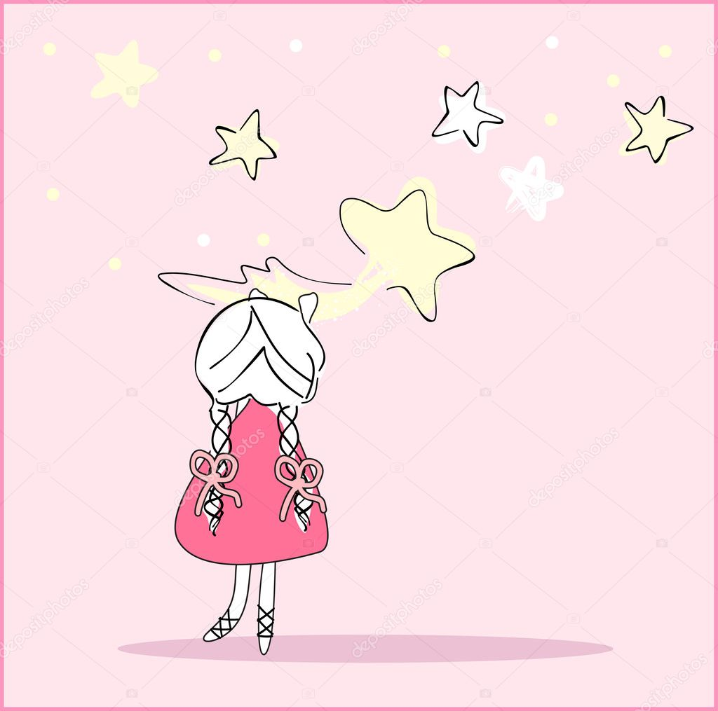 Vector illustration of girl caught the falling Star  Stock Vector #2237412