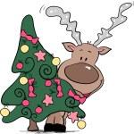 Reindeer behind christmas tree — Stock Vector