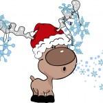 Reindeer blowing snowflakes — Stock Vector #2398018