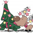 Silly reindeer eating christmas tree — Stock Vector