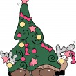 Reindeer hiding behind christmas tree - Stock Vector