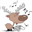 Reindeer singing christmas song - Stock Vector