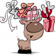 Reindeer with gift boxes — Vettoriali Stock