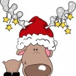 Reindeer santa - Stock Vector