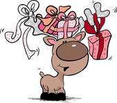 Reindeer with gift boxes — Vetor de Stock