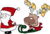 Santa pulling a reindeer on sled — Stock Vector