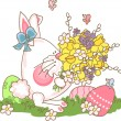 Easter bunny with bouquet — Stock Vector #2414021