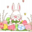 Easter bunny prepares to decorate eggs — Imagen vectorial