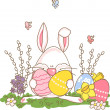 Easter bunny with eggs — Stock Vector #2414040