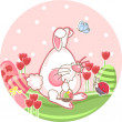 Royalty-Free Stock Vector Image: Bunny in a tulip field