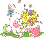 Easter bunny with bouquet — Stock Vector