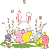 Easter bunny with eggs — Stock Vector