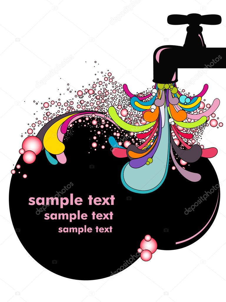 Vector illustration of abstract tap with colorful swirls  Stock Vector #2022914