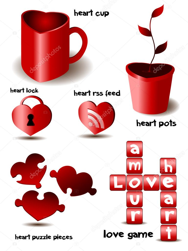 Vector illustration of heart set - object  Stock Vector #2023004