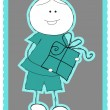 Stock Vector: Boy with gift
