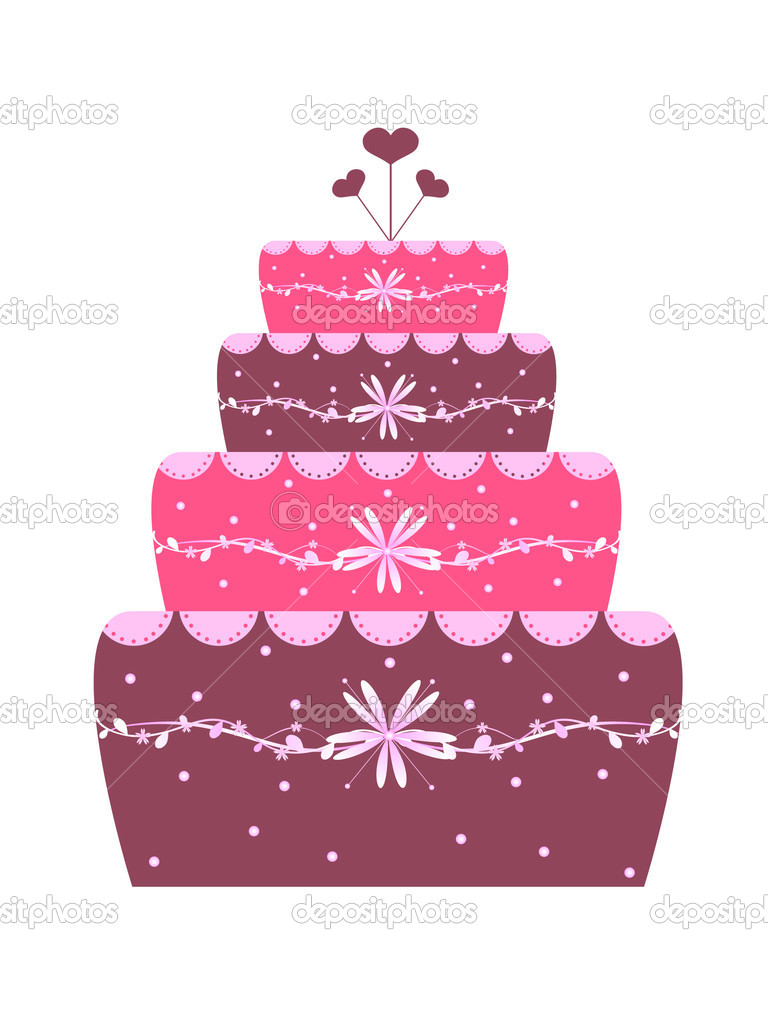 Beautiful wedding cake with  flower decoration - illustration — Stock Vector #2069094