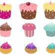 Stock Vector: Cute cupcakes