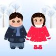 Girl and boy in snow - Stockvectorbeeld