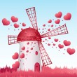 Love windmill - Stock Vector