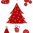 Red christmas set - Stock Vector