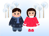 Girl and boy in snow — Stock Vector