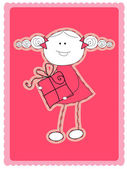 Girl with gift — Stock Vector